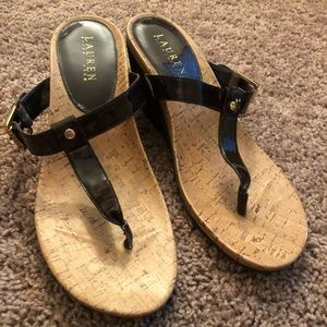 Brown & Cork Wedge Sandals Sz 10 Ralph Lauren